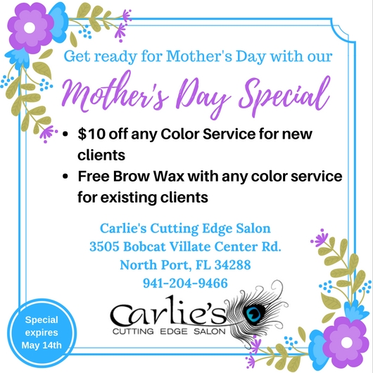 Mother s day special carlie 39 s cutting edge salon spa for A cutting edge salon