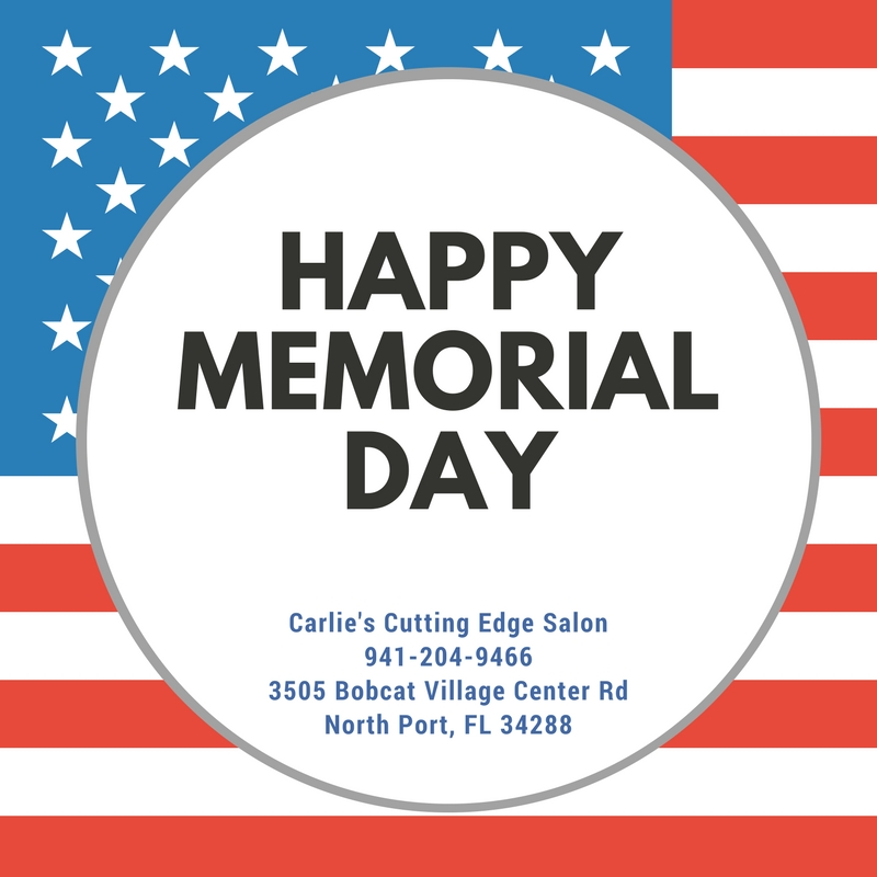 Happy memorial day carlie 39 s cutting edge salon spa for A cutting edge salon