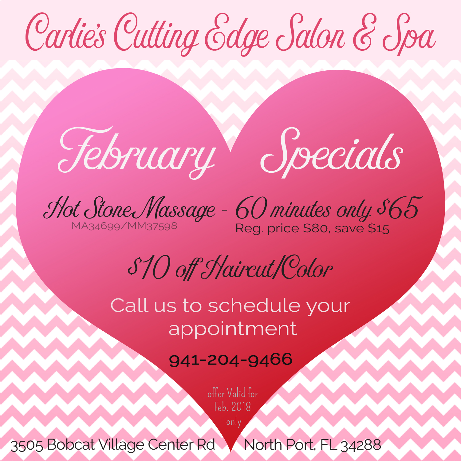Valentine special carlie 39 s cutting edge salon spa for A cutting edge salon
